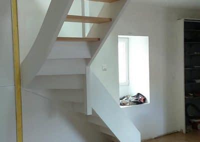 Escalier bois quart tournant sans contremarche par Les Sens du Menuisier