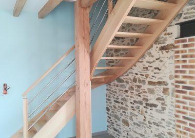 Escalier en chêne quart tournant